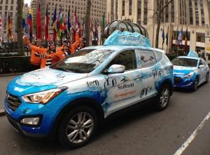 Antarctic-themed cars at Rockefeller Center