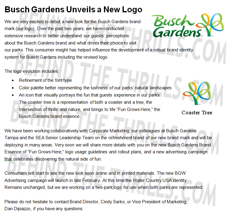 Busch Gardens Letter Behind The Thrills