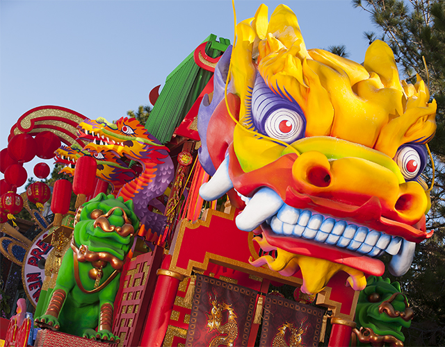 The all-new ÒChinese New YearÓ float at Universal OrlandoÕs 2013 Mardi Gras parade celebrates the beginning of the Chinese calendar year, complete with traditional paper lanterns and a huge, ornate dragon flying above.