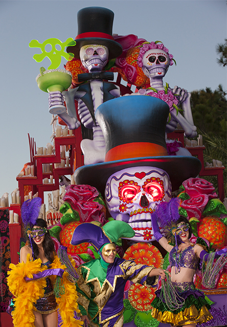 The all-new ÒMexican Day of the DeadÓ float at Universal OrlandoÕs 2013 Mardi Gras parade pays homage to the traditional holiday celebrated in Mexico, complete with a skeletal bride and groom, sugar skulls and a light fog trail.
