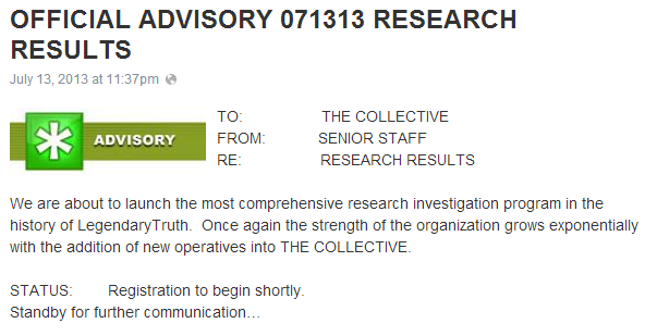 1  OFFICIAL ADVISORY 071313 RESEARCH RESULTS