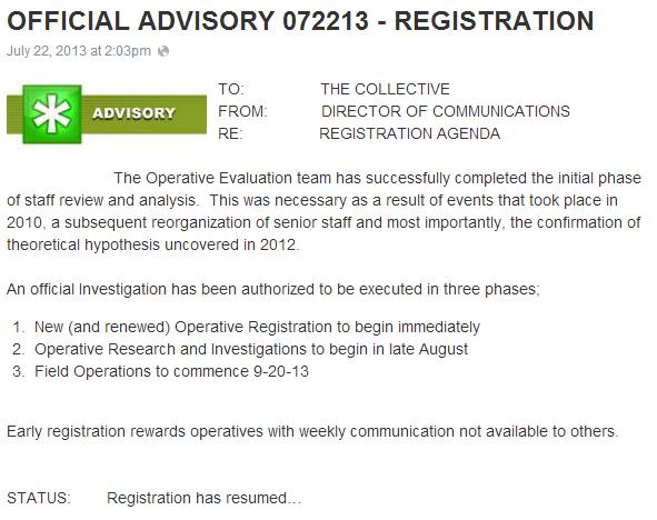 OFFICIAL ADVISORY 072213   REGISTRATION