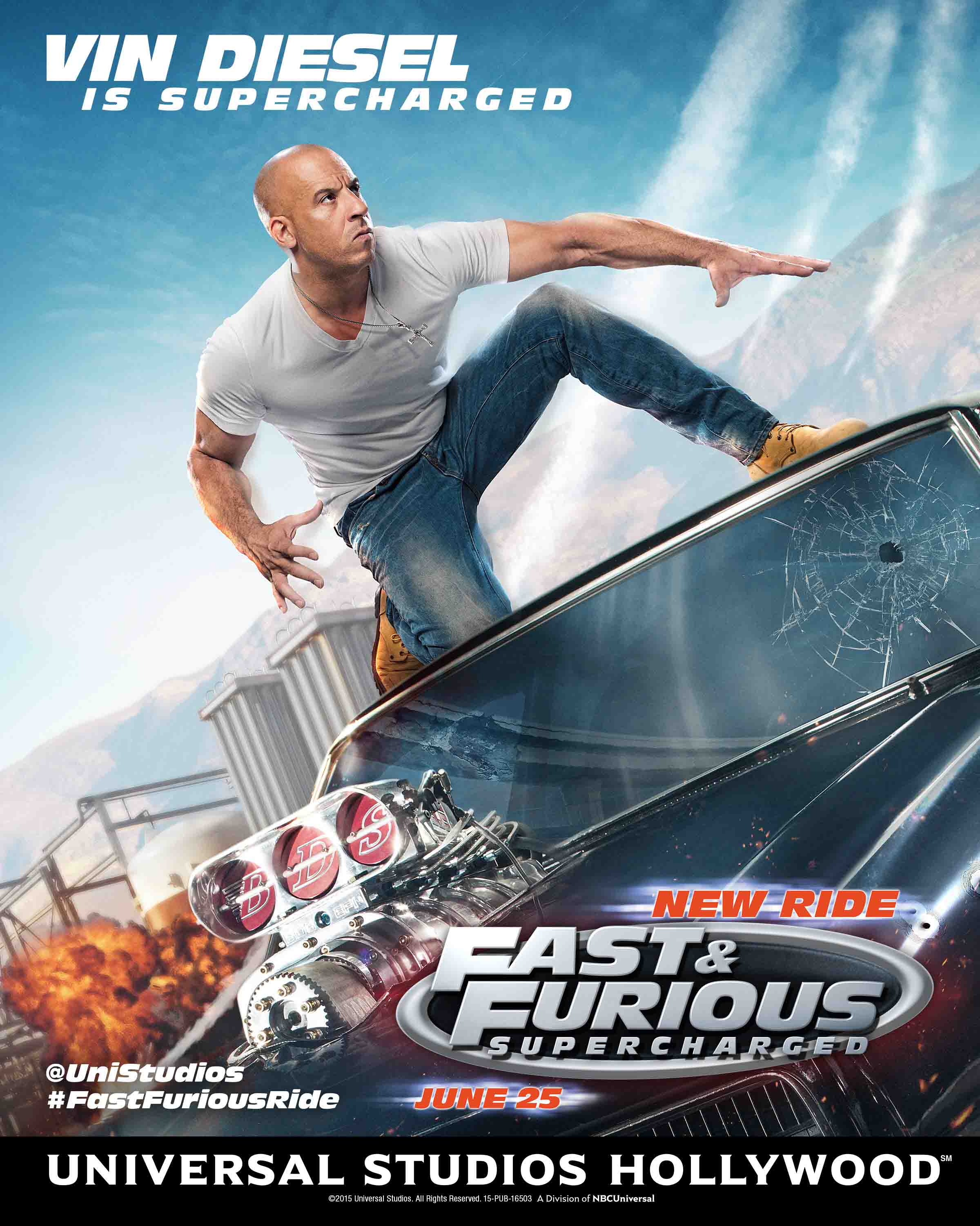 Fast Furious Supercharged Vin Diesel Ride Poster