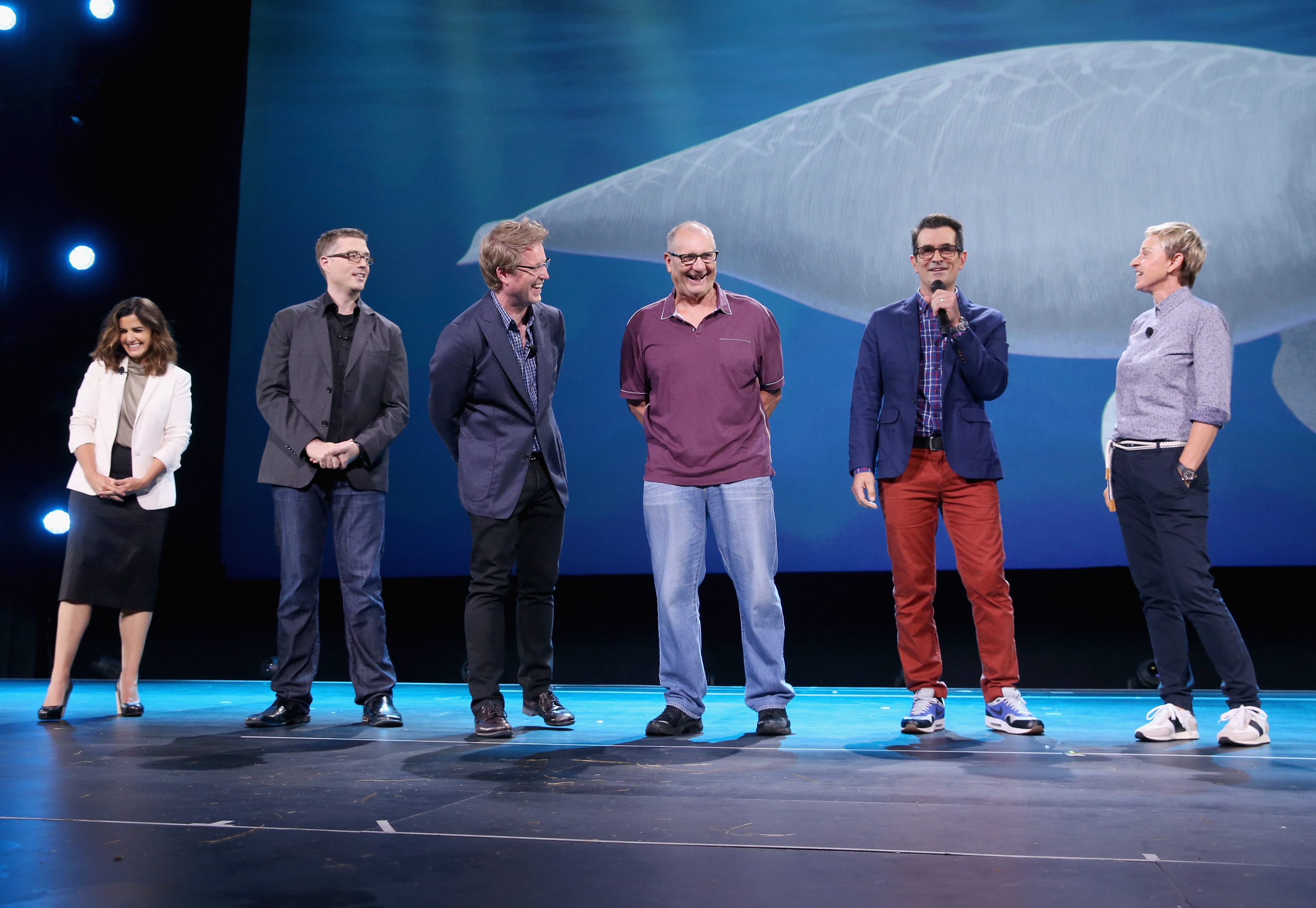 "ANAHEIM, CA - AUGUST 14:  (L-R) Producer Lindsey Collins, directors Angus MacLane and Andrew Stanton and actors Ed O'Neill, Ty Burrell and Ellen DeGeneres of FINDING DORY took part today in ""Pixar and Walt Disney Animation Studios: The Upcoming Films"" presentation at Disney's D23 EXPO 2015 in Anaheim, Calif.  (Photo by Jesse Grant/Getty Images for Disney) *** Local Caption *** Ellen DeGeneres; Ed O'Neill; Lindsey Collins; Angus MacLane; Andrew Stanton; Ty Burrell"