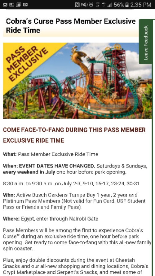 Behind the thrills busch gardens tampa moves cobra s curse passholder dates for Busch gardens tampa bay cobra s curse