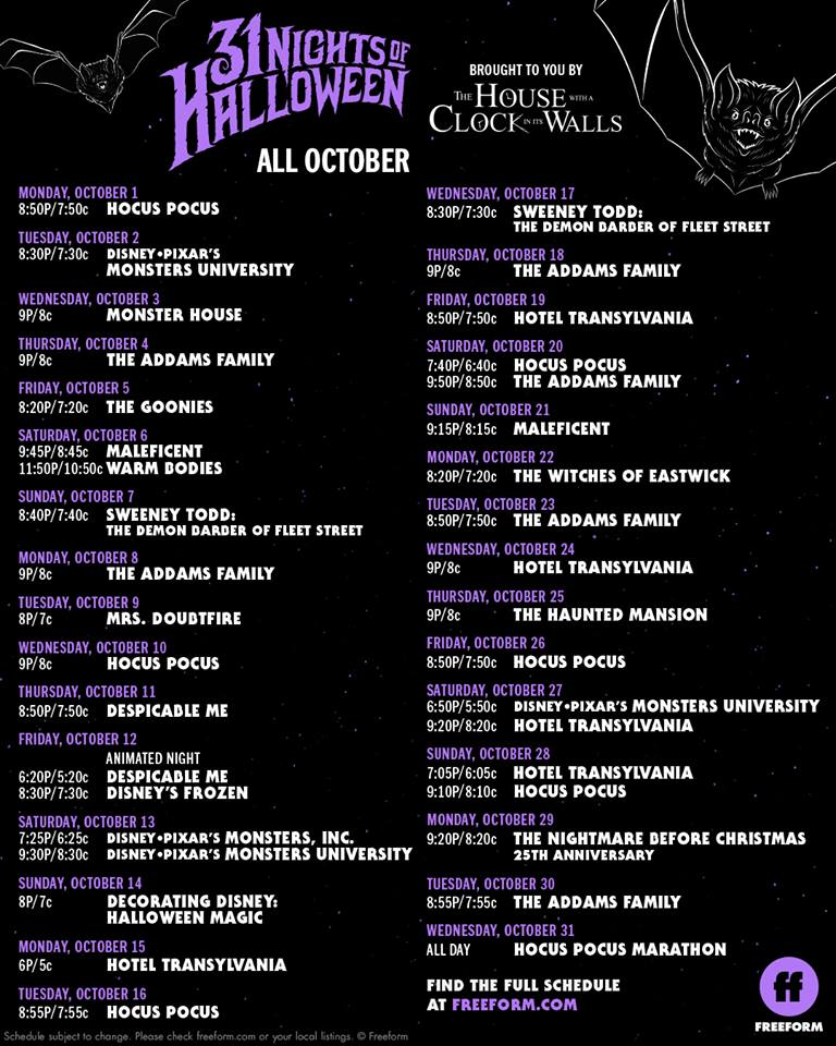Abc Family Movie Schedule October