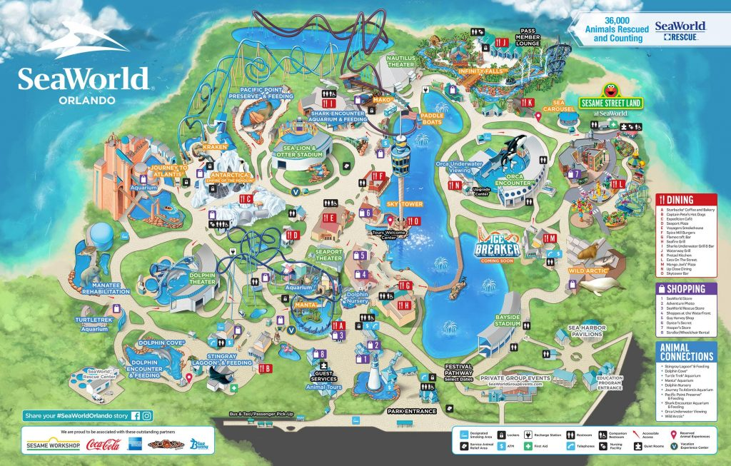 2020 SeaWorld Orlando Park Map